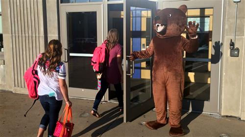 Browning Springs Bear greets students