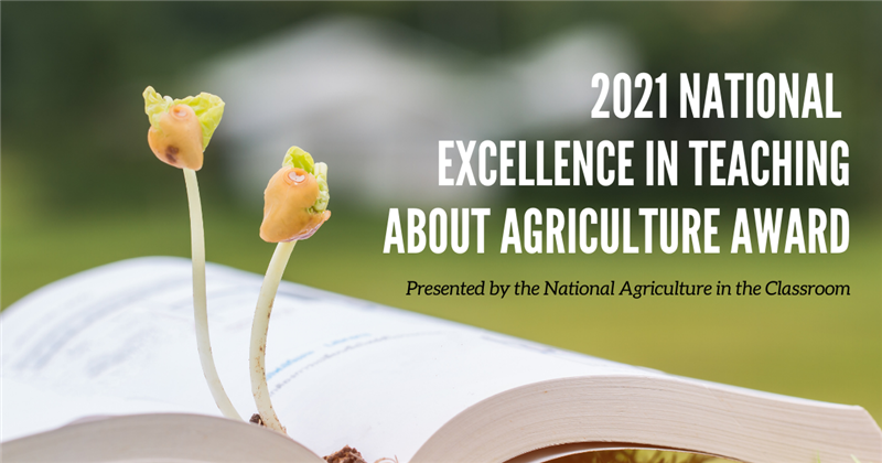 "The words ""National Excellence in Teaching about Agriculture Award"" with an open book and seedlings"