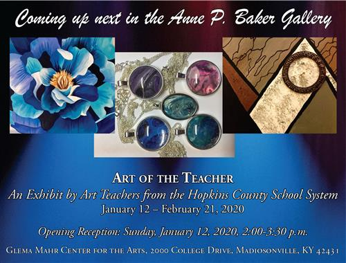 Art of the Teacher exhibit flyer Jan. 12-Feb. 21, 2020