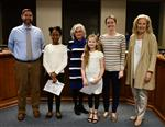Melody Kincaid and Mya Latimer with Principal Clark, Board Chairman Susanne Wolford, teacher Erin Shaw & Superintendent Ashby
