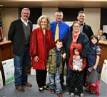 Brandon Poole with Taelor Morse's family, JW Durst, and Superintendent Ashby
