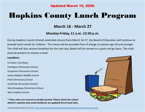 Meals Provided March 16-27