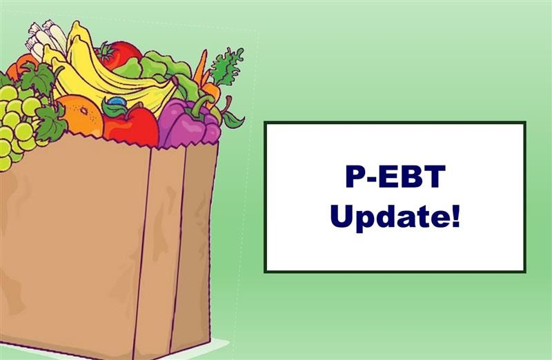 "The words ""P-EBT Update!"" on a green background with clip art of a full grocery sack"