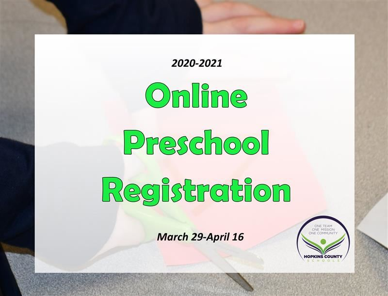 "The words ""online preschool registration"" with photo of hands cutting red paper with scissors"