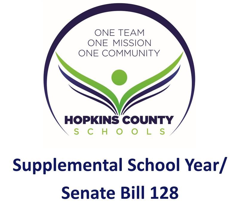 Hopkins County Schools logo with the words Supplemental School Year / Senate Bill 128